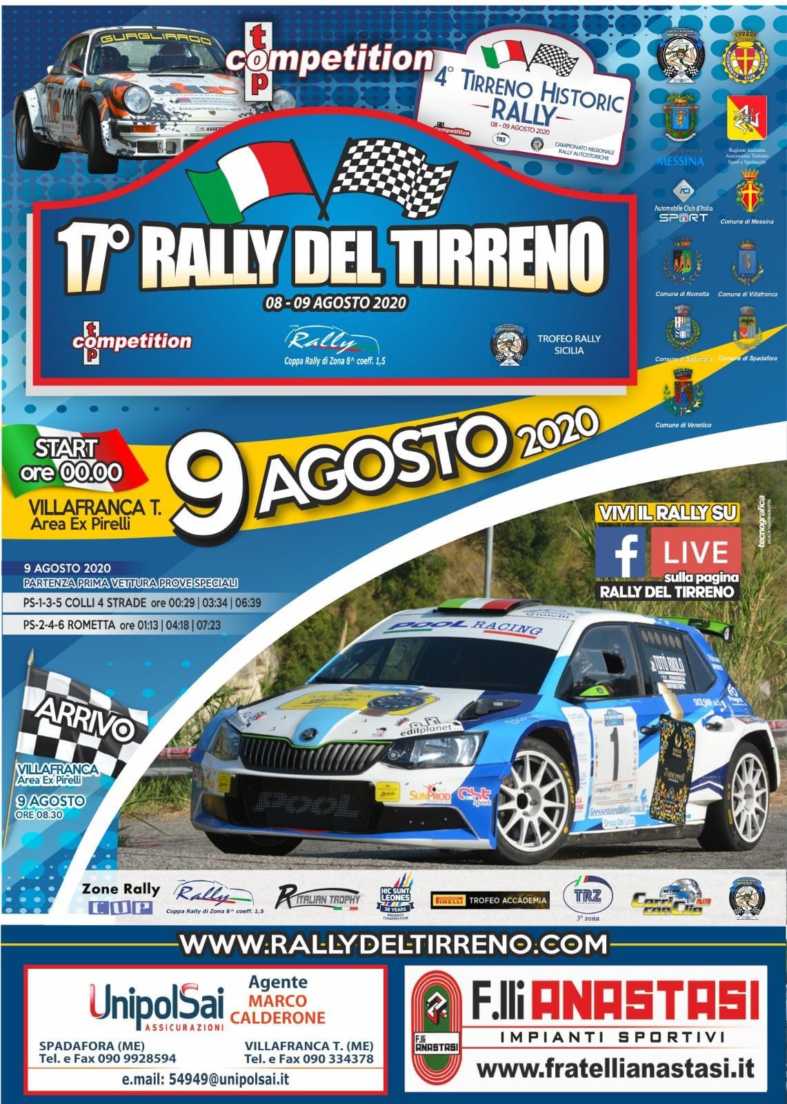 Il Rally del Tirreno dell'8 e 9 agosto è passione da vivere.La gara raggiungerà ovunque i tanti appassionati dove l'amore per l'automobilismo costringe a stare lontani dai campi di gara ma uniti nel vivere le emozioni in diretta
